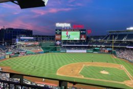 Dusk settles at Nationals Park in D.C. during the fourth inning of the 2019 Congressional Baseball Game for Charity. (WTOP/Noah Frank)