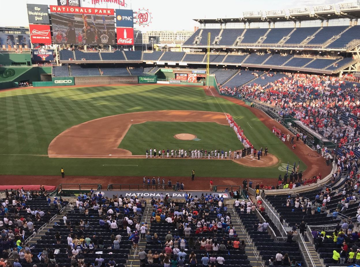 Members of Congress gather at Nationals Park in D.C. for the 2019 Congressional Baseball Game for Charity. (WTOP/Mitchell Miller)