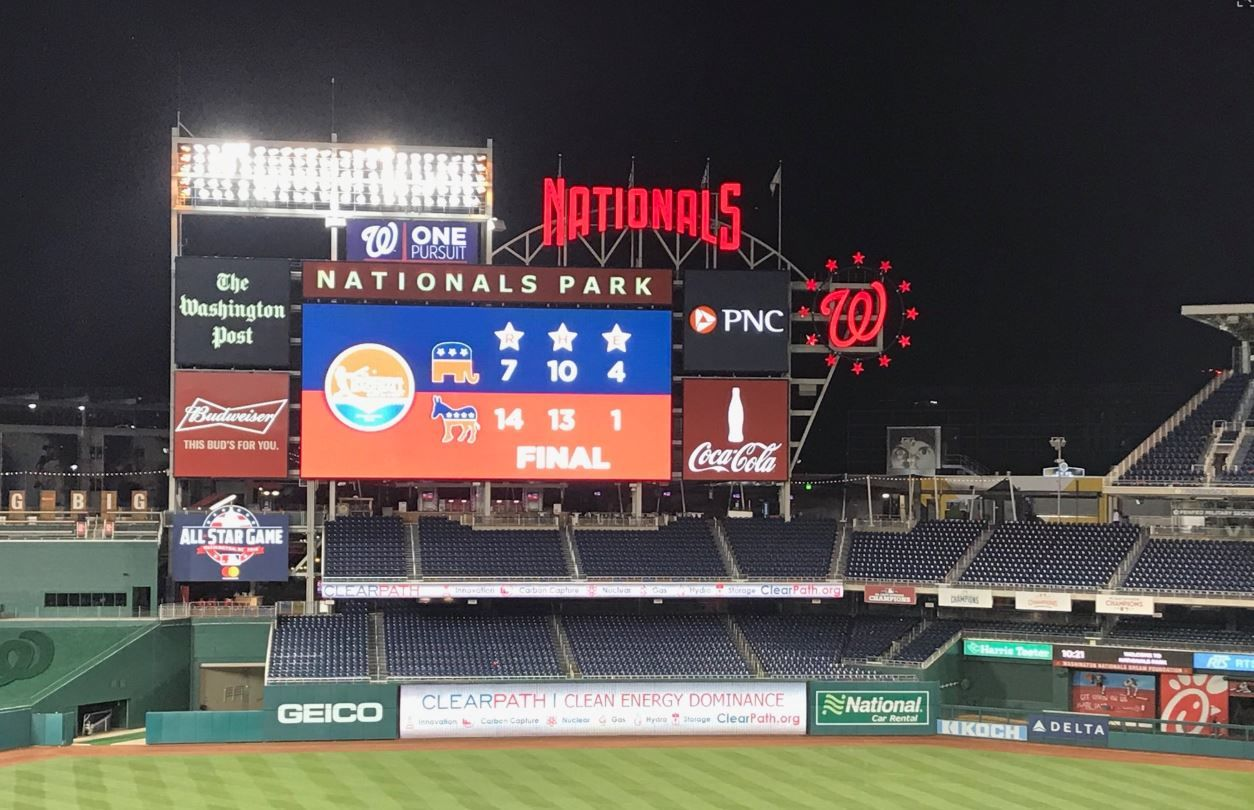 The Democrats beat the Republicans in the Congressional Baseball Game for Charity on Wednesday, June 26, 2019. (WTOP/Mitchell Miller)