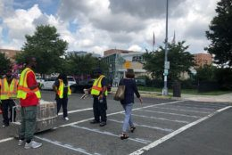 A more-visible crosswalk has been considered essential for the intersection outside the King Greenleaf Recreation Center, which Is located not far from Nationals Park and Audi Field. (WTOP/Kristi King)