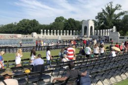 Crowds gathered Thursday at the World War II Memorial to mark D-Day's 75th anniversary. (WTOP/John Aaron)