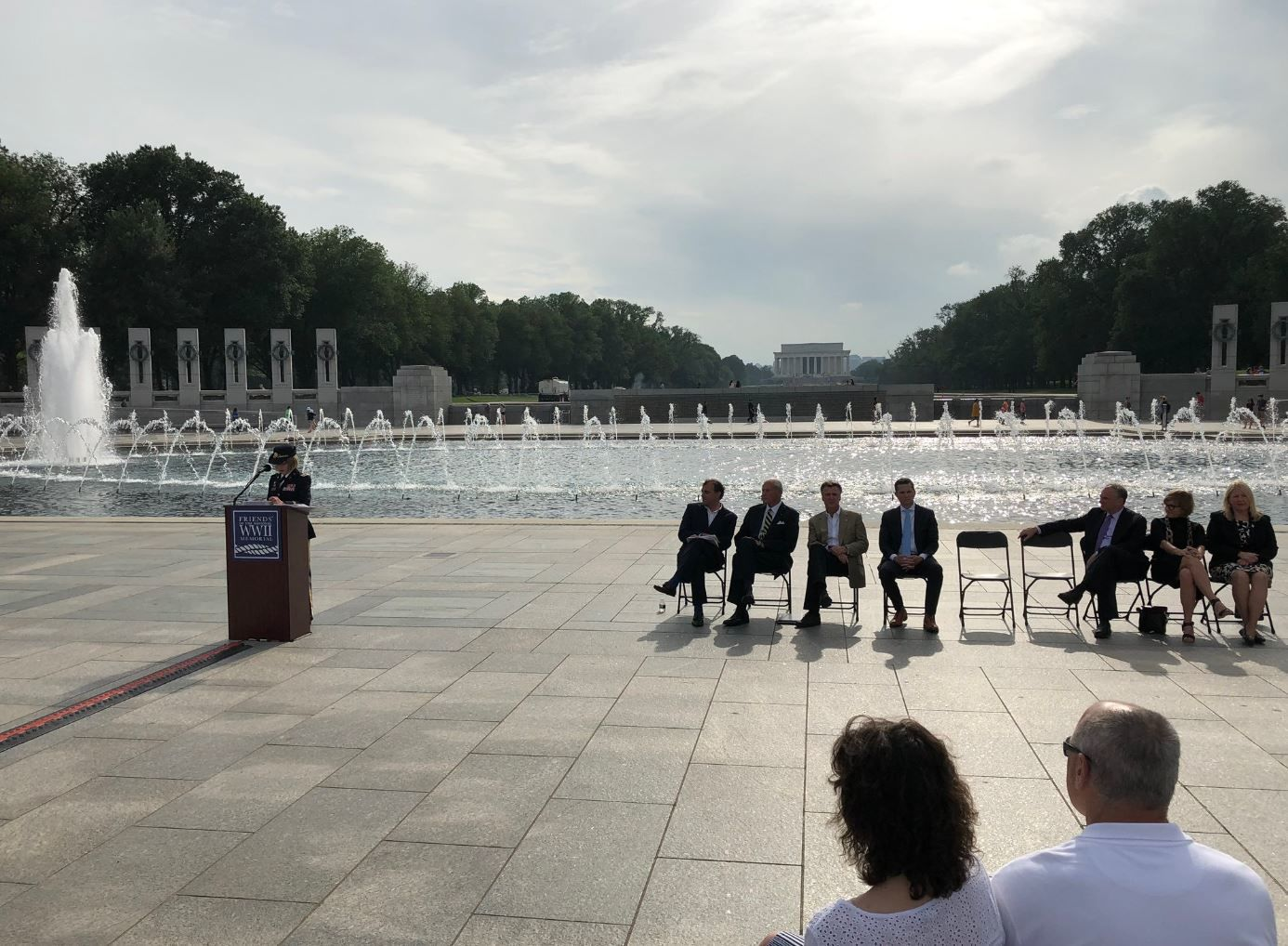 At the National World War II Memorial in D.C., volunteers marked the 75th anniversary of the largest ever military operation by sea -- D-Day -- by saying the names of service members who were lost. (WTOP/Michelle Basch)