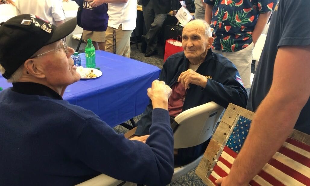 Veterans share their WWII experience with Virginia high school students. (WTOP/Kristi King)