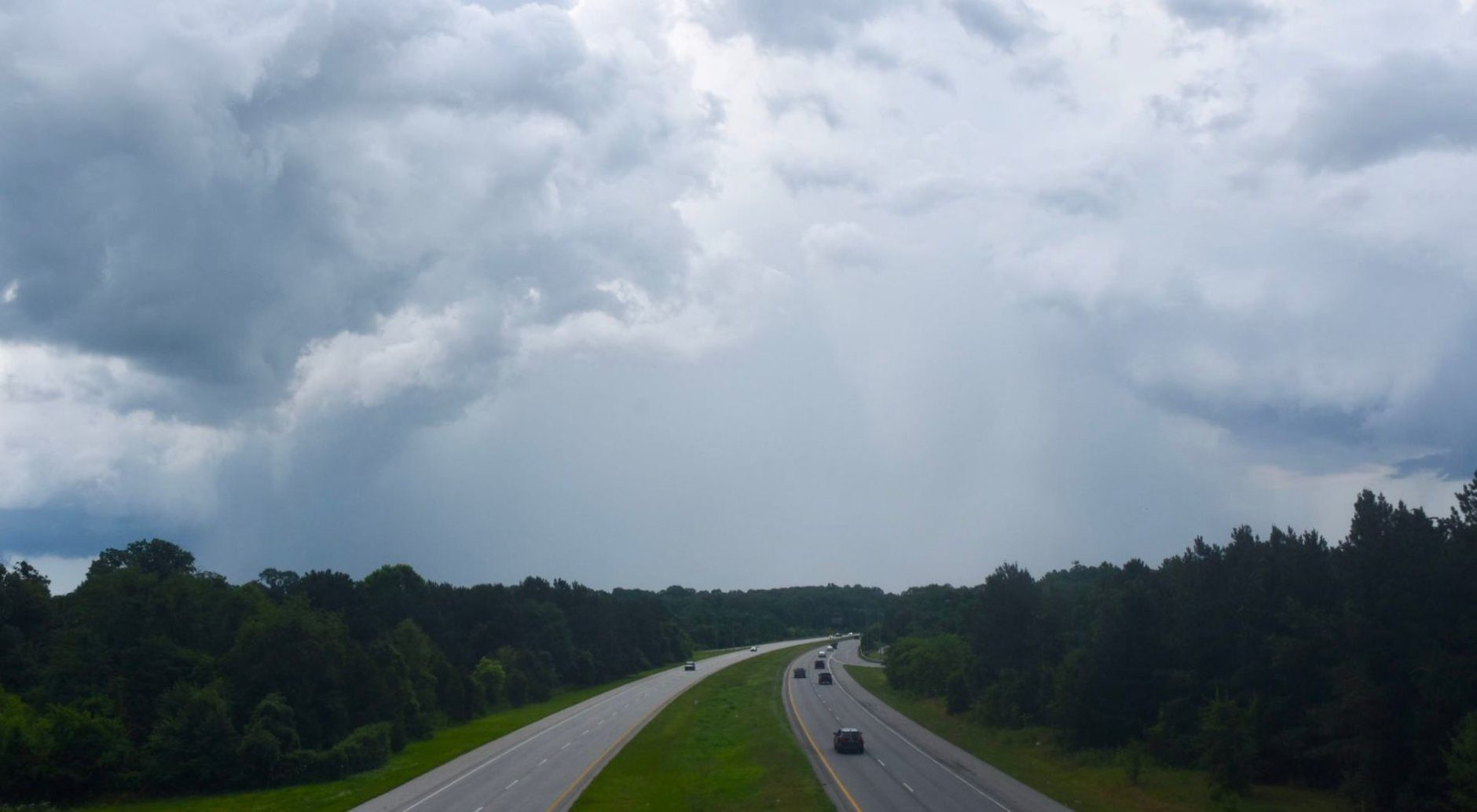 Storm clouds form above Maryland state Route 4 on Monday, June 17, 2019. (WTOP/Dave Dildine)