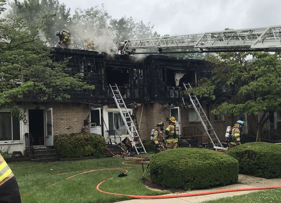 Residents of all seven of the building's units self-evacuated to safety, one official said. (Courtesy Frederick County Fire and Rescue Services)