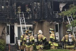 The fire on the 500 block of Carrollton Drive started just before 9 a.m., and it grew rapidly to engulf all seven of the townhouse's units. (Courtesy Frederick County Fire and Rescue Services)