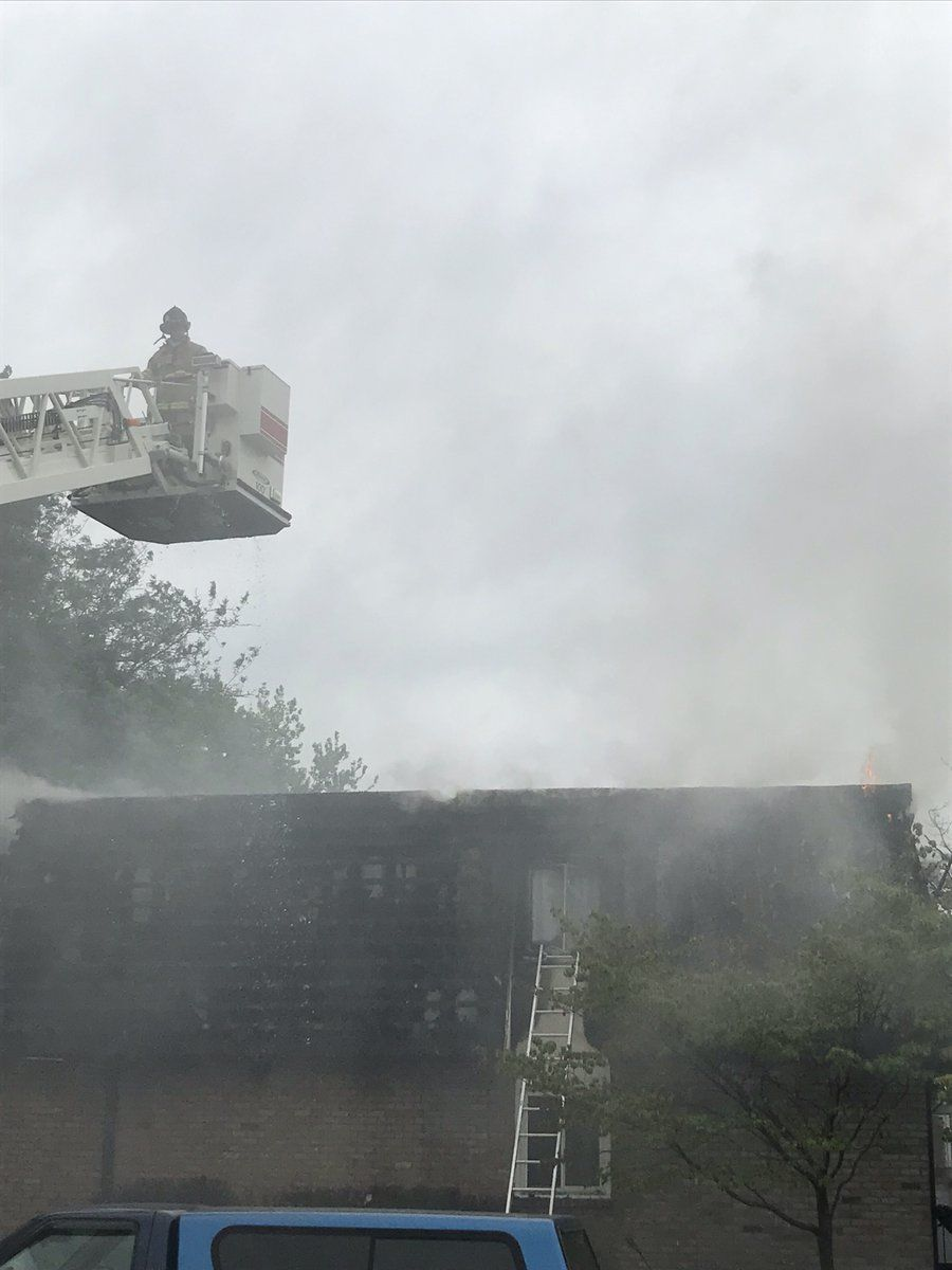 Seventy-fivefirefighters responded to the three-alarm fire, which spread quickly due to the building's age and primarily wooden frame, leading to a partial collapse on the second floor. (Courtesy Frederick County Fire and Rescue Services)
