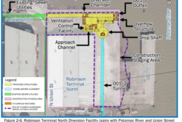 The environmental assessment released last week recommends digging a 19-foot diameter tunnel more than 10,000 feet long about 100 feet beneath Church Street and the Potomac River just off the Old Town waterfront that would connect to storage tanks at Robinson Terminal North and Royal Street. (Courtesy City of Alexandria)
