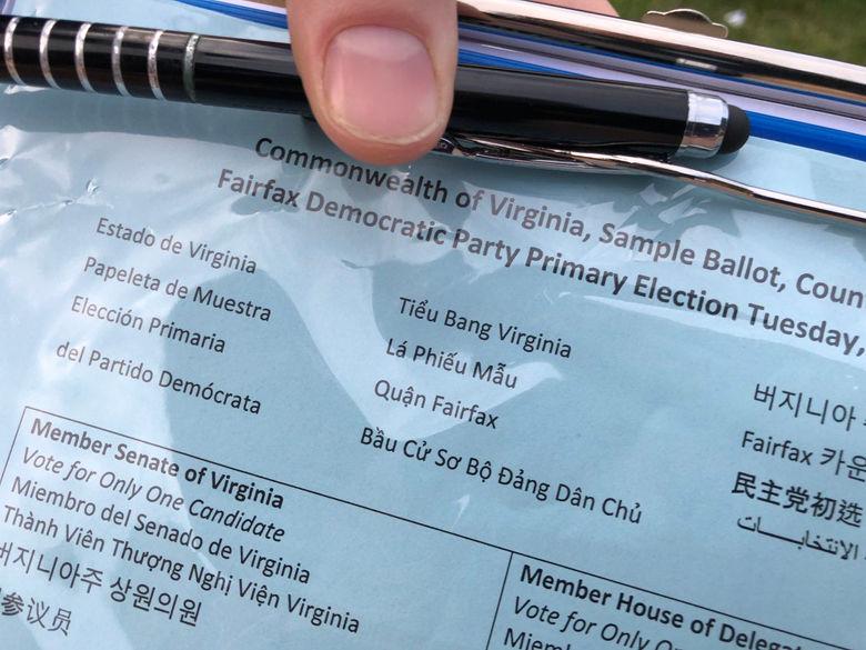 The Democratic Primary sample ballot. (WTOP/Kristi King)
