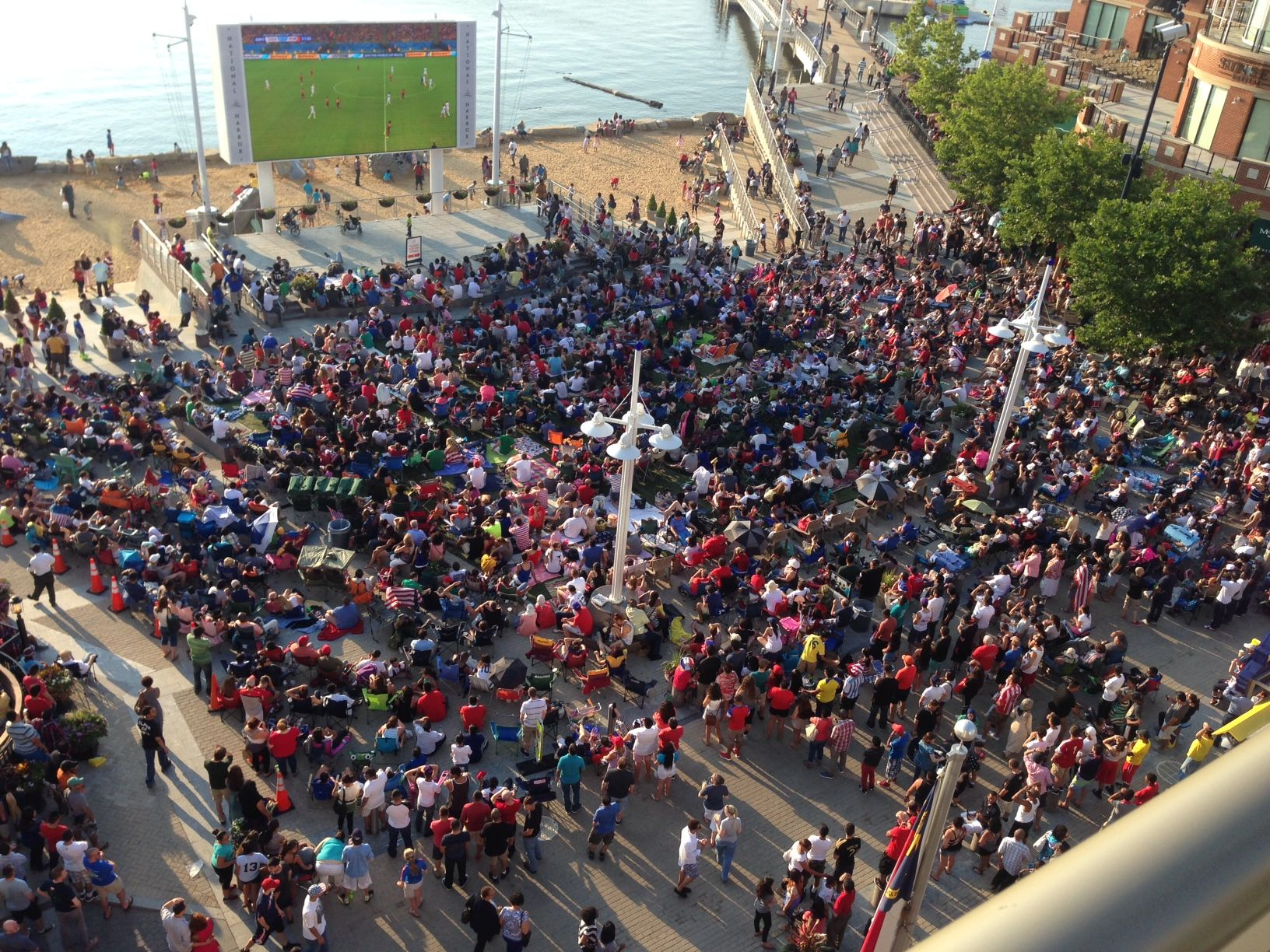 Overhead view of a watch party at National Harbor, where the women's World Cup will be shown on the big movie screen. (Courtesy National Harbor)