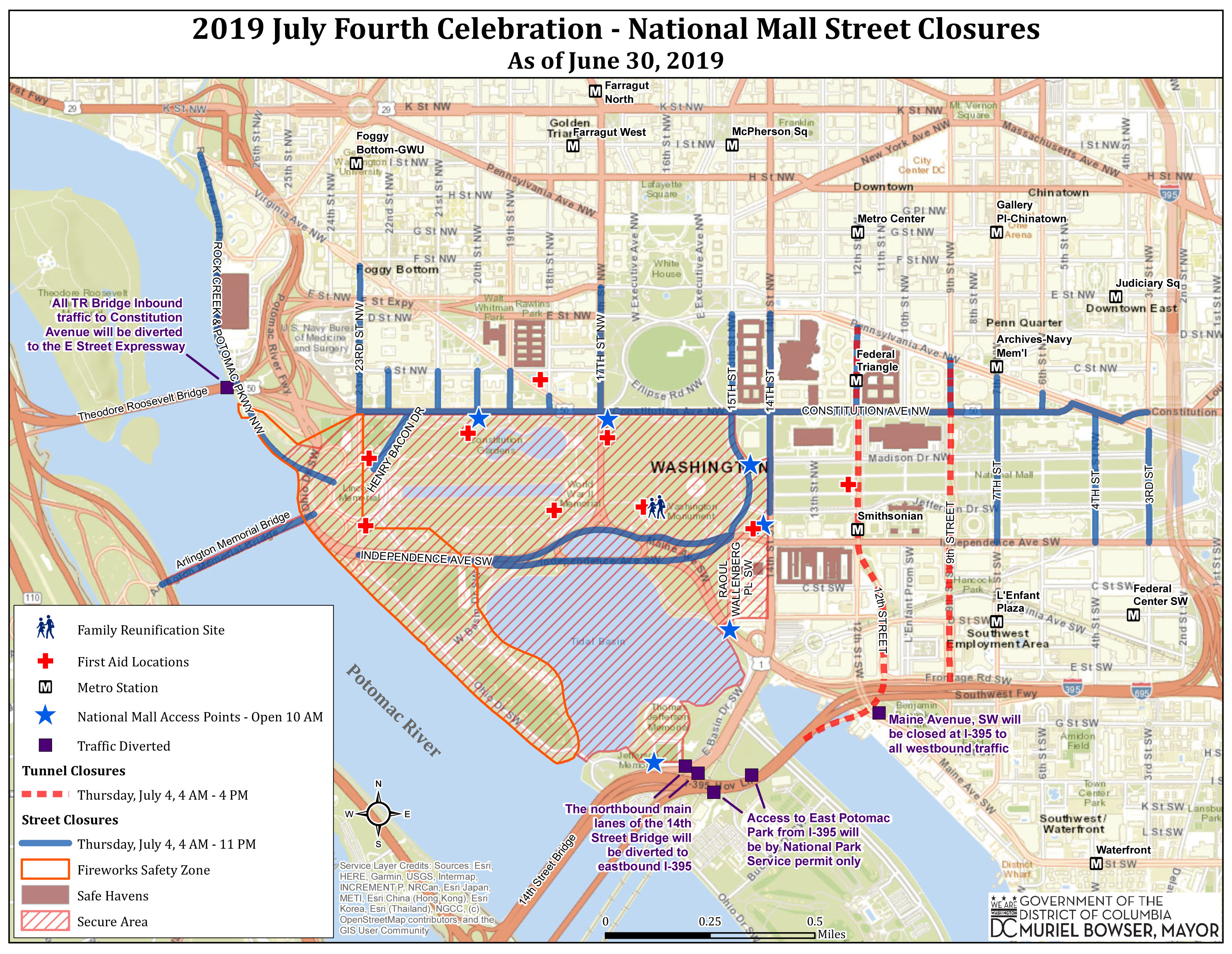 July 4 Guide: Events, fireworks, road closures and more | WTOP Dc National Mall Map on