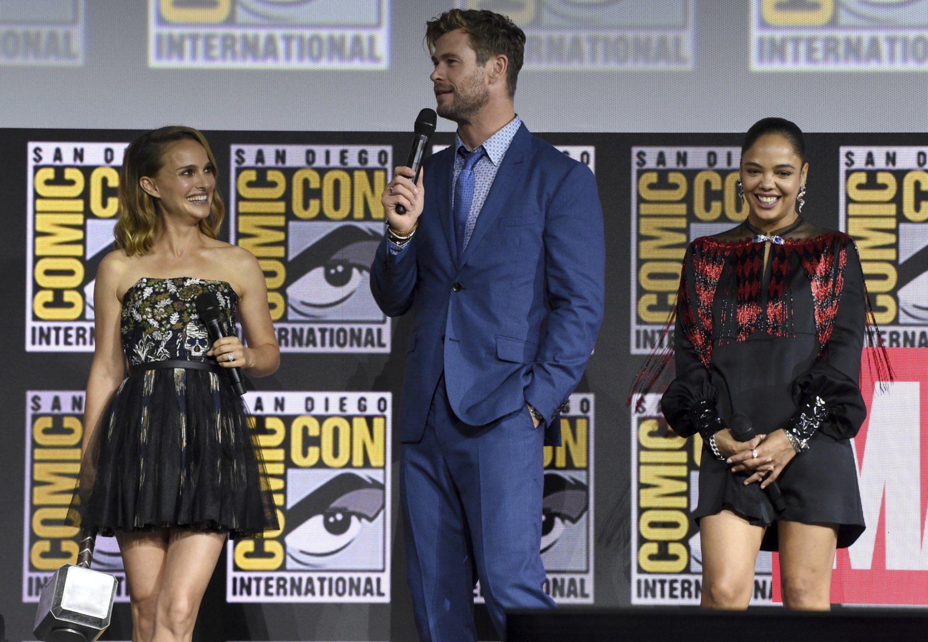 Natalie Portman, Chris Hemsworth, Tessa Thompson