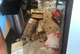 Damage from flooding inside a Spanish restaurant