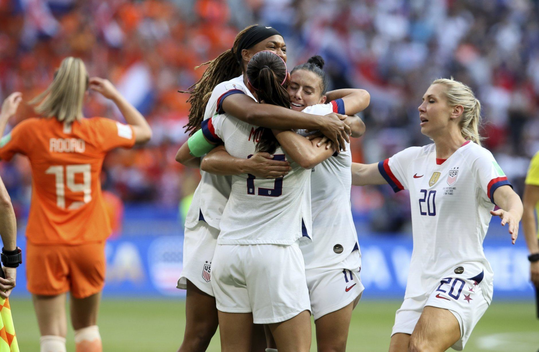 US players celebrate at the end of the Women's World Cup final soccer match between US and The Netherlands at the Stade de Lyon in Decines, outside Lyon, France, Sunday, July 7, 2019. US won 2:0. (AP Photo/David Vincent)