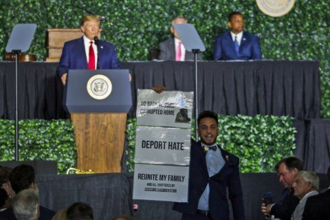 Muslim Virginia lawmaker heckles Trump at Jamestown speech