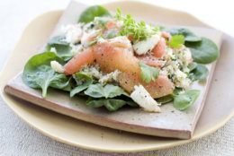 """This Aug. 22, 2011 photo shows grapefruit & crab salad in Concord, N.H. For AP's 20 Salads of Summer series, chef Todd English offered this recipe for grapefruit and crab salad from his forthcoming book, """"Cooking in Everyday English.""""    (AP Photo/Matthew Mead)"""