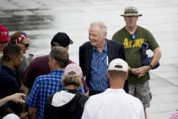 Actor Jon Voight greets visitors before President Donald Trump's Independence Day celebration in front of the Lincoln Memorial, Thursday, July 4, 2019, in Washington. (AP Photo/Andrew Harnik)