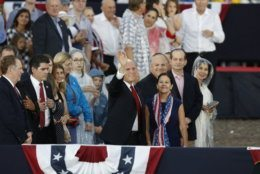 Vice President Mike Pence and Karen Pence, arrive for an Independence Day celebration in front of the Lincoln Memorial, Thursday, July 4, 2019, in Washington. (AP Photo/Alex Brandon)