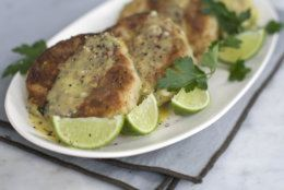 This March 3, 2014, photo shows zucchini crab cakes with lime aioli in Concord, N.H. (AP Photo/Matthew Mead)
