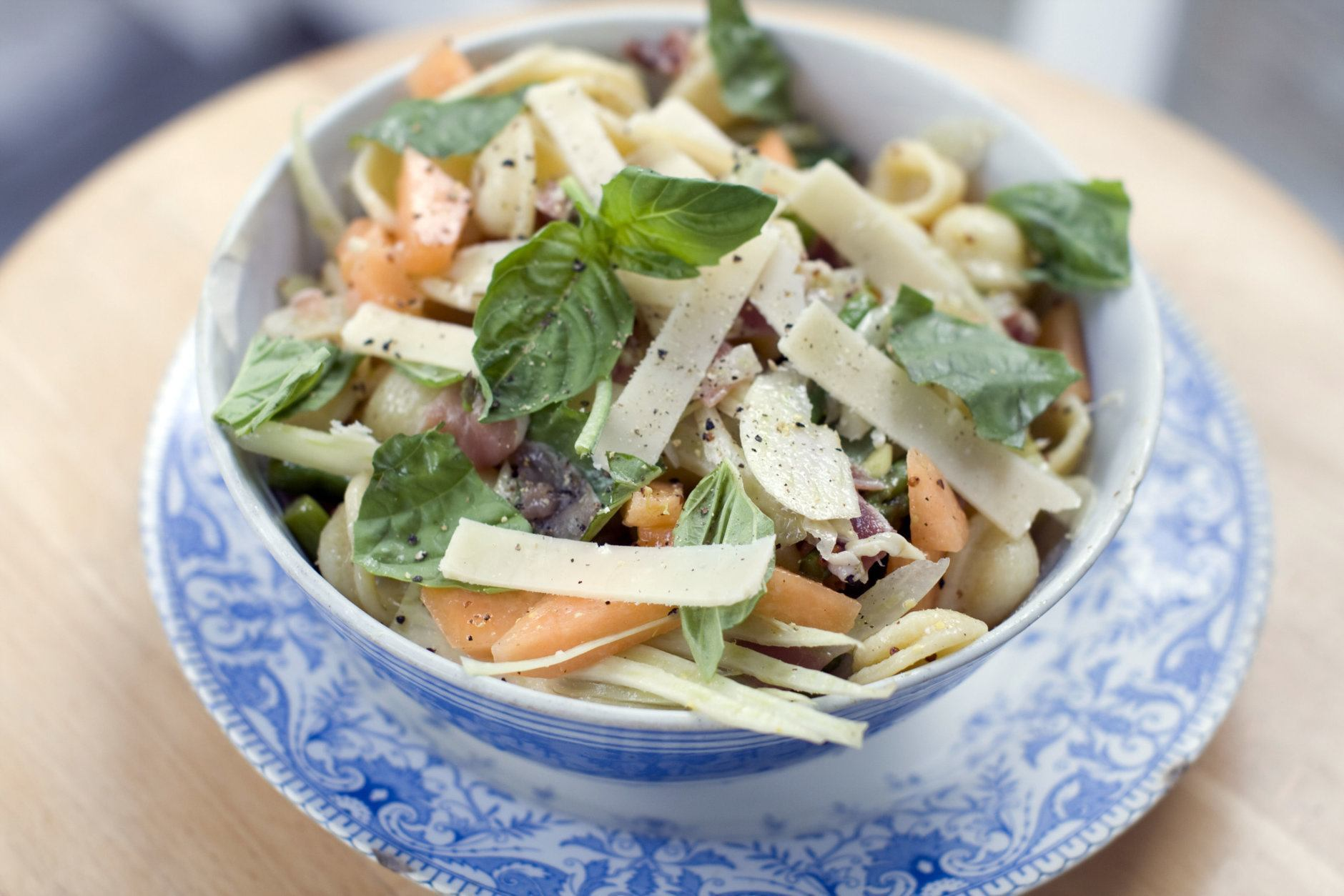 This July 29, 2013 photo shows prosciutto, cantaloupe, and orecchiette salad in Concord, N.H. A pasta salad should be easy. It should be a just-throw-the-ingredients-in-a-bowl kind of summer food that doesn't require too much messing around. (AP Photo/Matthew Mead)