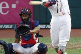 Ronald Acuna Jr., of the Atlanta Braves, hits during the Major League Baseball Home Run Derby, Monday, July 8, 2019, in Cleveland. The MLB baseball All-Star Game will be played Tuesday. (AP Photo/Ron Schwane)