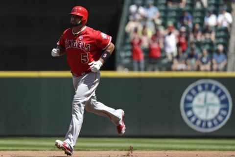 Pujols, Trout homer, Goodwin 2 HRs, Angels beat Mariners 9-3
