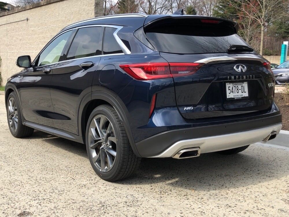 A rear view of the Infiniti QX50.