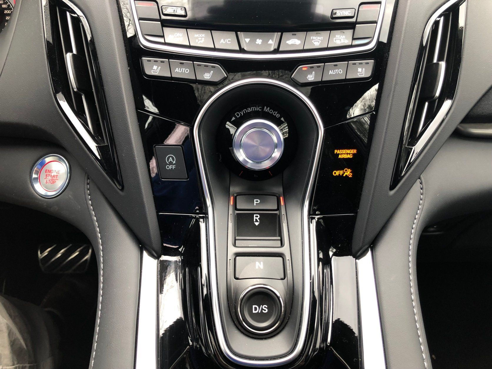 View of the center console of the Acura RDX