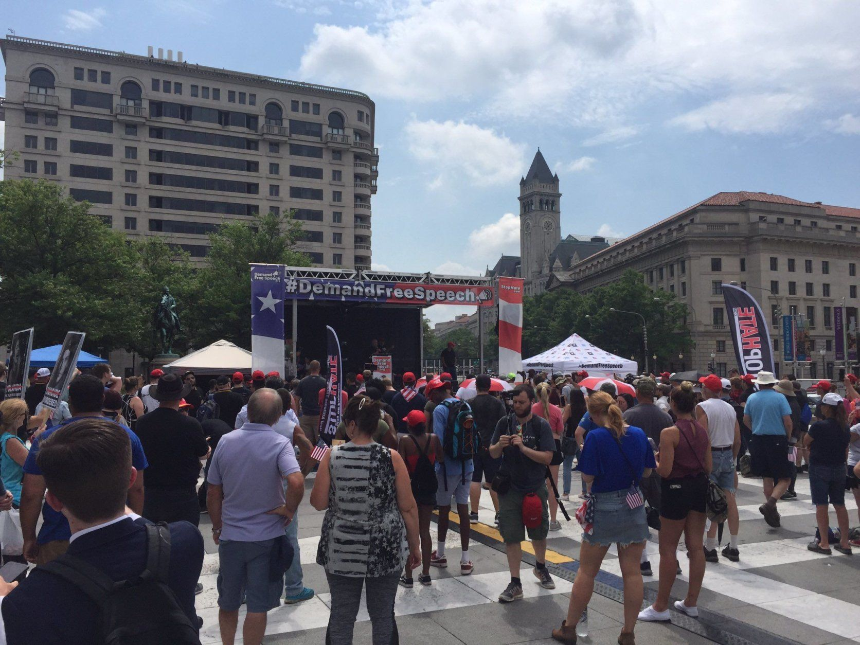 The alt-right rally is seen underway in Freedom Plaza in D.C. on Saturday, July 6, 2019. (WTOP/John Domen)