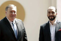 U.S. Secretary of State Mike Pompeo, left, poses with El Salvador's President Nayib Bukele at the Presidential House, in San Salvador, El Salvador, Sunday, July 21, 2019.  (AP Photo/Salvador Melendez)