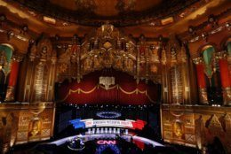 Workers get the stage ready for the Democratic presidential primary debate, Tuesday, July 30, 2019, at the Fox Theatre in Detroit. (AP Photo/Paul Sancya)
