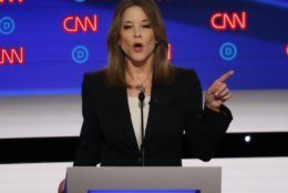 Author Marianne Williamson participates in the first of two Democratic presidential primary debates hosted by CNN Tuesday, July 30, 2019, at the Fox Theatre in Detroit. (AP Photo/Paul Sancya)