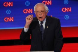 Sen. Bernie Sanders, I-Vt., speaks during the first of two Democratic presidential primary debates hosted by CNN Tuesday, July 30, 2019, at the Fox Theatre in Detroit. (AP Photo/Paul Sancya)