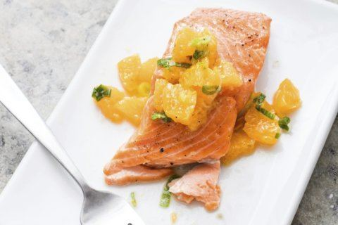 For this roasted salmon, skip the butter and go for relish