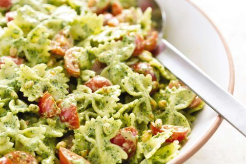 Hot summer months calls for a mix of pesto and pasta