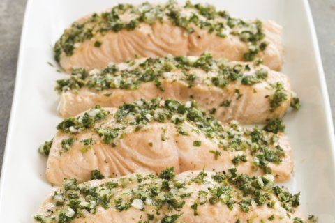 A vinaigrette packed with fresh herbs makes salmon better