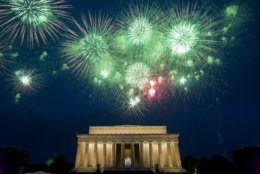 Fireworks light the sky near the Lincoln Memorial, Thursday, July 4, 2019, in Washington. (AP Photo/Alex Brandon)
