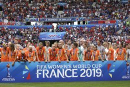 Team of Netherlands with silver medals after the Women's World Cup final soccer match between US and The Netherlands at the Stade de Lyon in Decines, outside Lyon, France, Sunday, July 7, 2019. (AP Photo/Alessandra Tarantino)