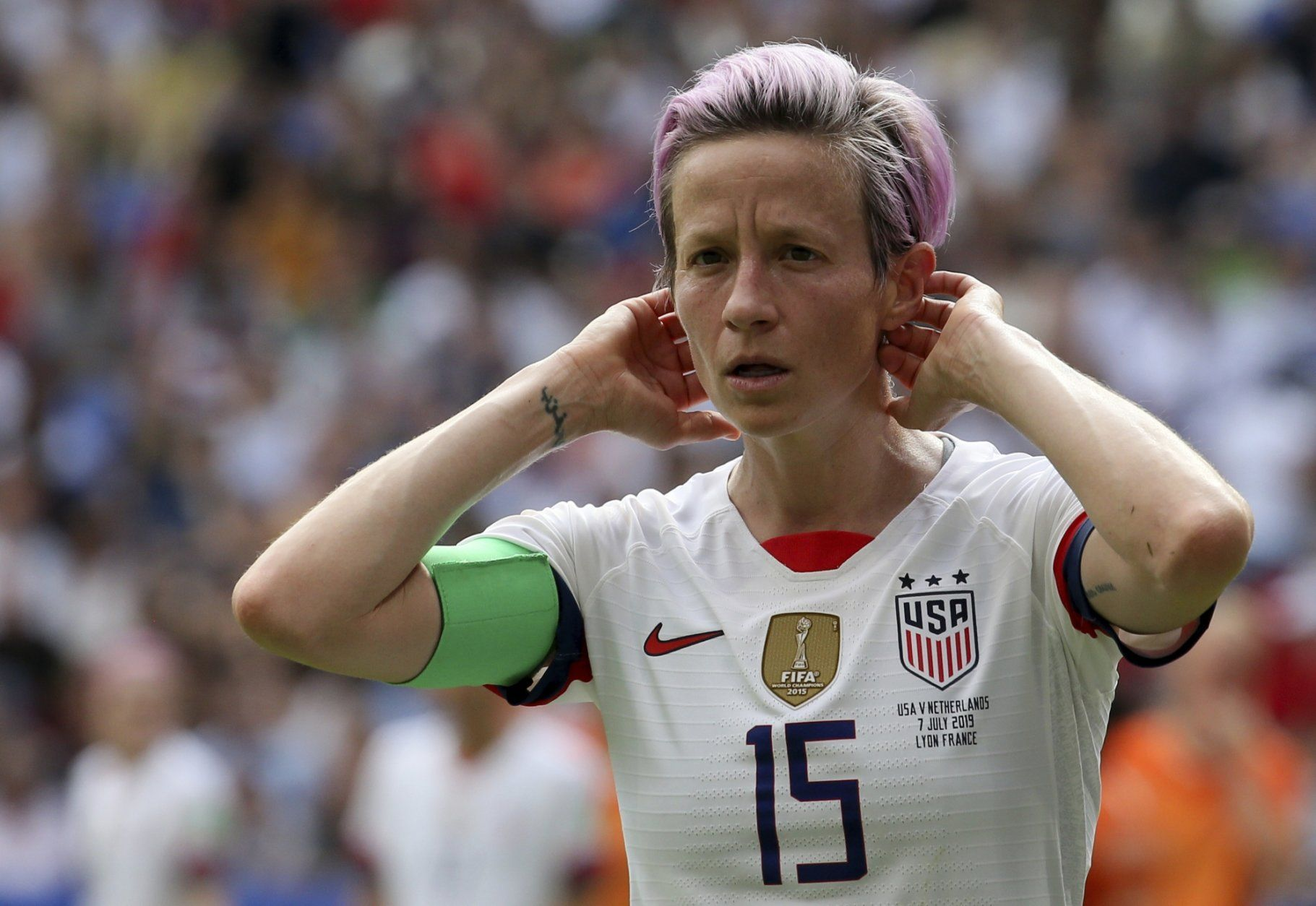 United States' Megan Rapinoe reacts during the Women's World Cup final soccer match between US and The Netherlands at the Stade de Lyon in Decines, outside Lyon, France, Sunday, July 7, 2019. (AP Photo/David Vincent)