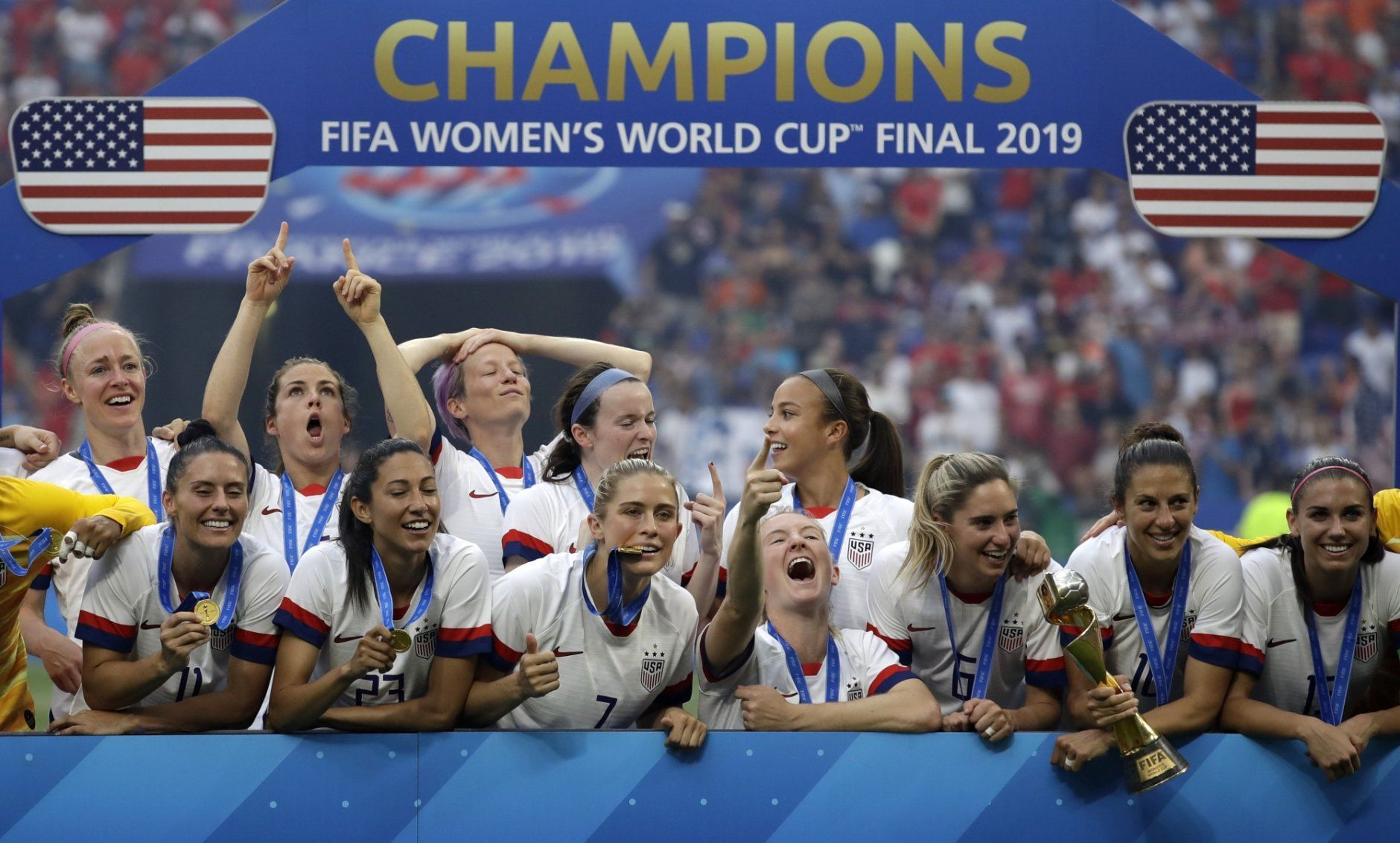 United States' player celebrate after the Women's World Cup final soccer match between US and The Netherlands at the Stade de Lyon in Decines, outside Lyon, France, Sunday, July 7, 2019. (AP Photo/Alessandra Tarantino)