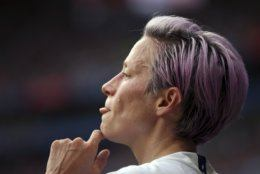 United States' Megan Rapinoe looks on during the Women's World Cup final soccer match between US and The Netherlands at the Stade de Lyon in Decines, outside Lyon, France, Sunday, July 7, 2019. (AP Photo/Francisco Seco)