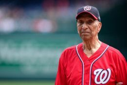 WASHINGTON, DC - JULY 04: World War II veteran Ellsworth Hutchinson, Jr. stands at home plate before a game between the Miami Marlins and Nationals at Nationals Park on July 4, 2019 in Washington, DC. (Photo by Patrick McDermott/Getty Images)