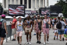 "WASHINGTON, DC - JULY 04: People gather on the National Mall ahead of President Trump's speech during Fourth of July festivities on July 4, 2019 in Washington, DC. President Trump is holding a ""Salute to America"" celebration on the National Mall on Independence Day this year with musical performances, a military flyover, and fireworks. (Photo by Stephanie Keith/Getty Images)"