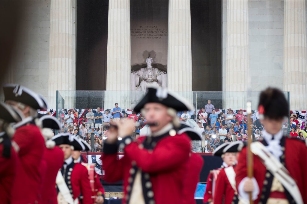 "Bands perform during the opening festivities of President Donald Trump's ""Salute to America"" ceremony in front of the Lincoln Memorial, on July 4, 2019 in D.C. (Photo by Sarah Silbiger/Getty Images)"