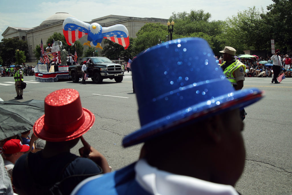 WASHINGTON, DC - JULY 04: Spectators watch as an eagle balloon passes by during the National Independence Day Parade July 4, 2019 in Washington, DC. Americans celebrate the nation's 243rd birthday today. (Photo by Alex Wong/Getty Images)