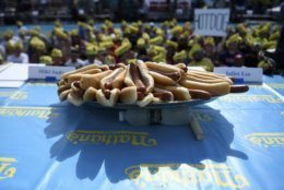 Hot dogs are displayed before the annual Nathan's Famous July Fourth hot dog eating contest, Thursday, July 4, 2019, in New York's Coney Island. (AP Photo/Sarah Stier)