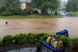 Severe flooding in a residential neighborhood in Potomac, Maryland
