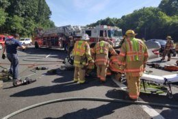 An injured person had to be rescued from a vehicle overturned on the Capital Beltway in Bethesda. (Courtesy Pete Piringer)