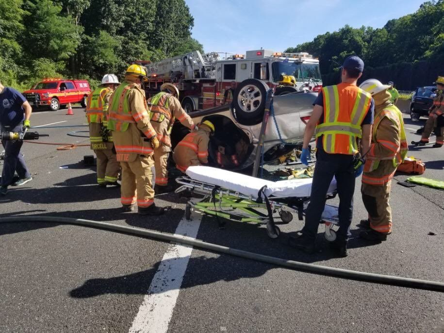 Emergency responders prepare to transport a person injured in a crash on the Capital Beltway in Bethesda. (Courtesy Pete Piringer)