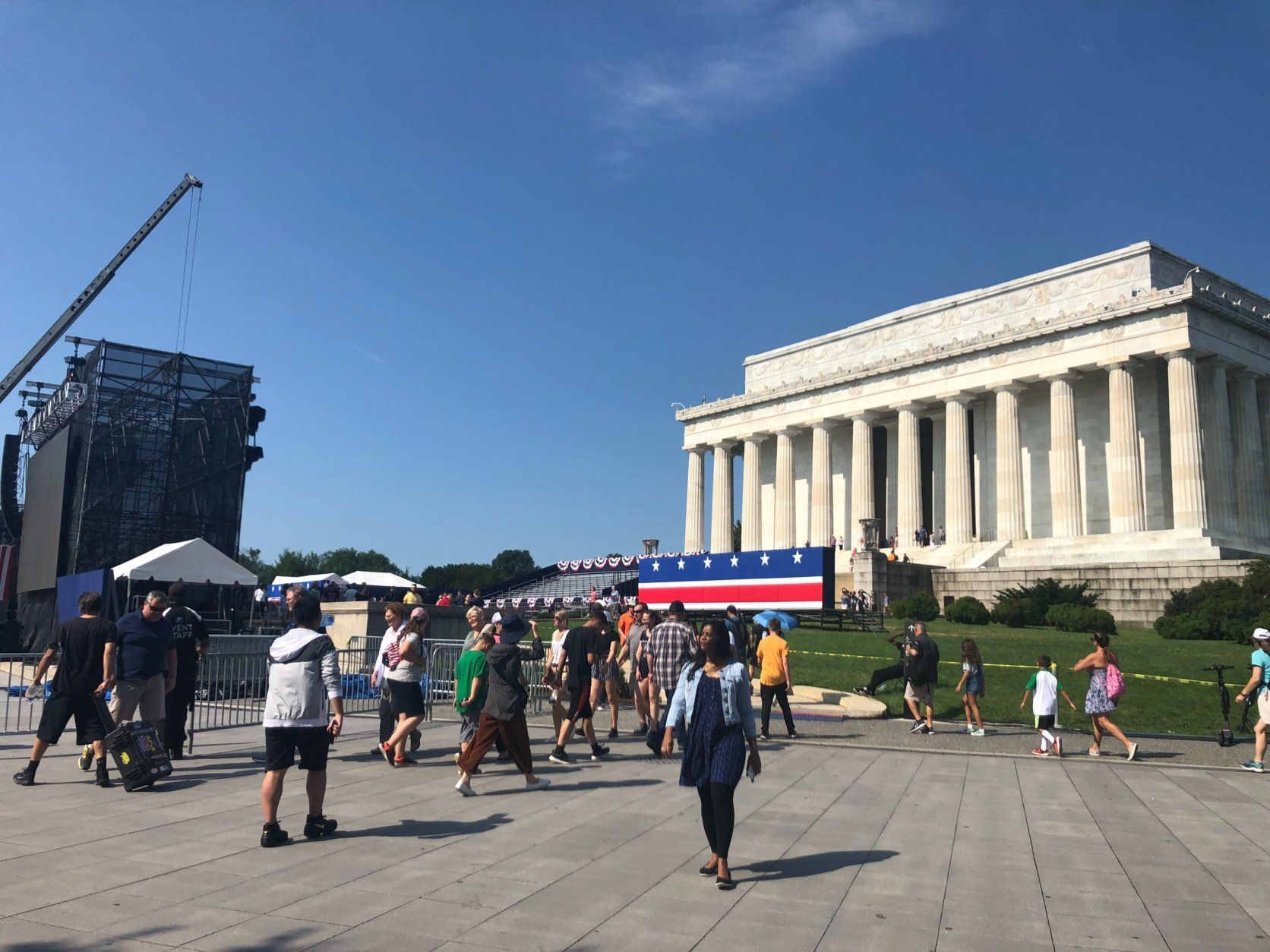 The scene in front of the Lincoln Memorial on Wednesday, July 3, 2019. (WTOP/Melissa Howell)